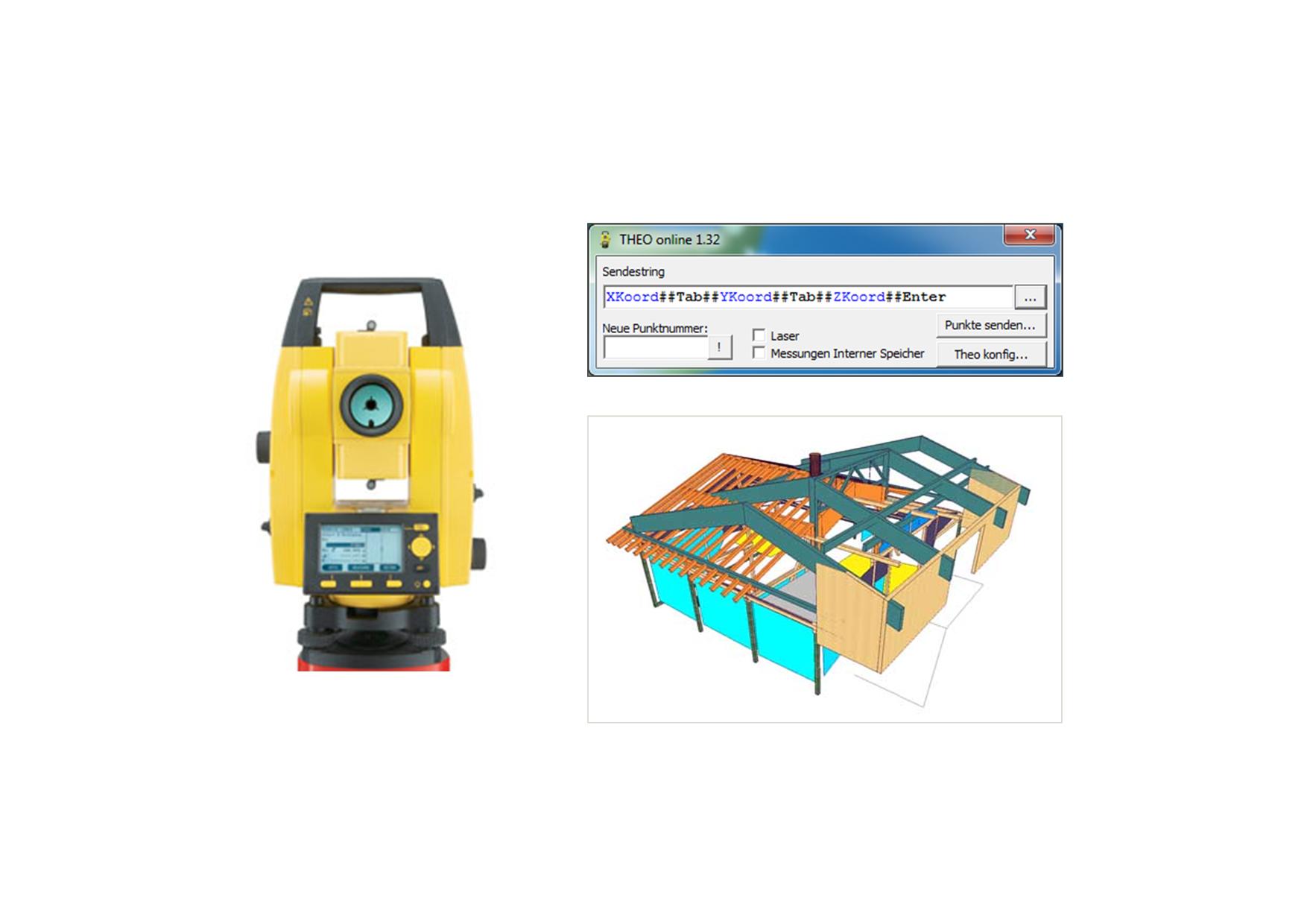 Laseraufmaß mit Theodoliten/Tachymeter   VisKon Zusatzmodul - zum Kauf