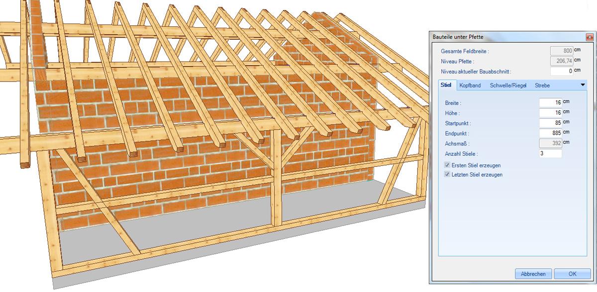 WOODCON V14 | Modul A) Dach-/ Holzbau CAD - zur jährlichen Miete